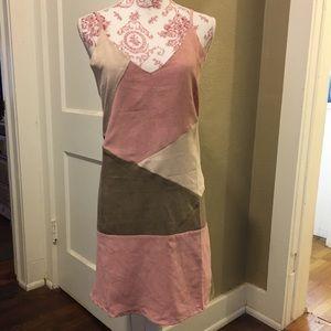 Mistic Prysm Faux Suede Color Block Dress L NWT